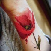 tatuaż czerwony mak