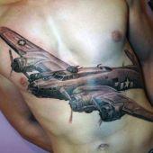 tatuaże męskie na piersi samolot