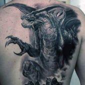 tatuaże męskie smok 3d