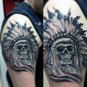 tatuaże męskie indiańska czaszka