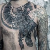 crow chest tattoo