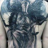 beauty angel on back tattoo