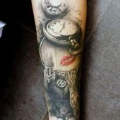 lipstick and clock tattoo