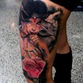 amazing thigh tattoo for woman