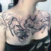 tatuaże damskie lis i królik