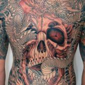 skull and dragon back tattoo
