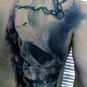 man tattoo clock and skull