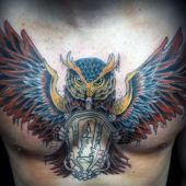 owl man chest tattoo