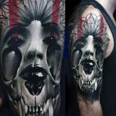 tatuaże męskie 3d kobieta i bestia