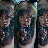 amazing 3d girl tattoo