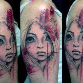 tatuaże 3d twarz dziewczynki