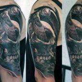 tatuaże męskie czaszka i sowa