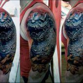 tatuaże męskie 3d smok