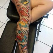 marvel tattoo on woman leg