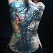 incredible tree back tattoo