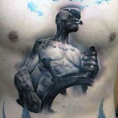 papaj chest tattoo