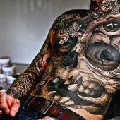 skull tattoo full body for man