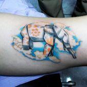 tatuaże origami słoń