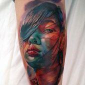 realistic face tattoo