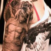 angel and rose arm tattoo