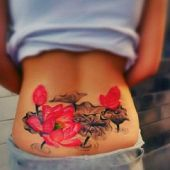 beauty lower back tattoo flowers