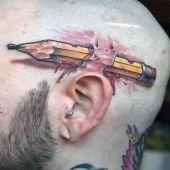 tatuaże 3d na głowie ołówek