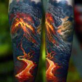 tatuaże 3d wulkan