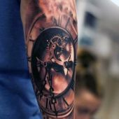amazing clock tattoo 3d