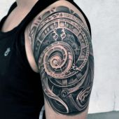 abstract clock half sleeve tattoo