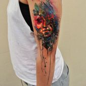 colorful watercolor tattoo for women