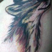 amazing pastel fox tattoo