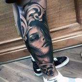 women portrait leg tattoo