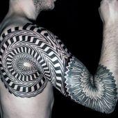 geometric shoulder tattoo for man