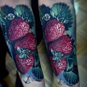 strawberry tattoo 3d