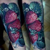 strawberry tattoo 3d