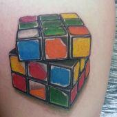 rubiks cube 3d tattoo