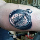 realistic compass mens tattoo