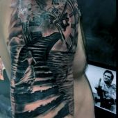 tatuaże 3d zegar na ramie