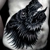 black wolf  tattoo for men