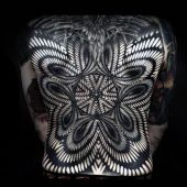 abstract 3d back tattoo