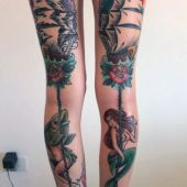 sailor girl legs tattoo