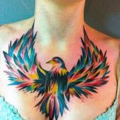 colorful bird chest tattoo