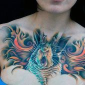 women 3d chest tattoo