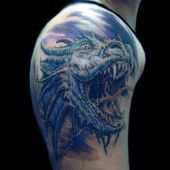 realistic dragon head tattoo