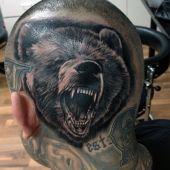 tatuaże na głowie niedźwiedź