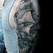 sailing ship with skull tattoo