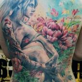 beauty woman tattoo on back