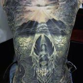 amazing angel tattoo on back