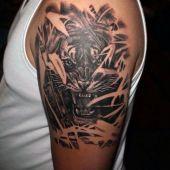 tatuaże męskie tygrys na ramie