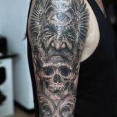 tatuaże męskie czaszka i twarz 3d
